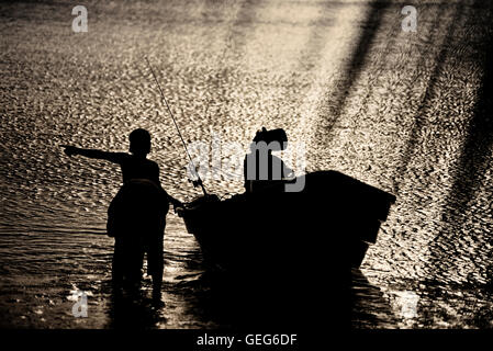 Local Grenadian fishermen, Grenada. Caribbean. West Indies. - Stock Photo