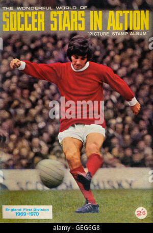 The wonderful world of soccer stars in action picture stamp album front cover of George Best. 1969-1970 - Stock Photo
