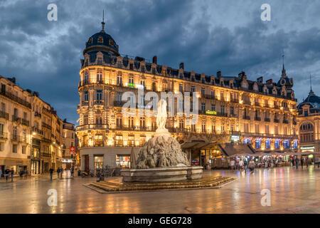Place de la Comedie, Three graces fountain, Montpellier, France, - Stock Photo