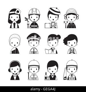 People Occupations Icons Set, Monochrome, Profession, Avatar, Worker, Job, Duty - Stock Photo