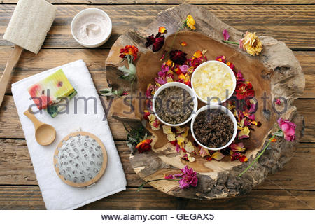Alternative skin care and homemade scrubs with natural ingredients sage ,sea salt ,honey,lemon ,rosemary,mint and - Stock Photo