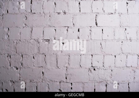 Abstract weathered texture stained old stucco light gray and aged paint white brick wall background in rural room, - Stock Photo