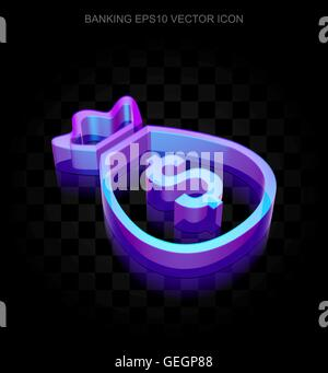 Currency icon: 3d neon glowing Money Bag made of glass, EPS 10 vector.