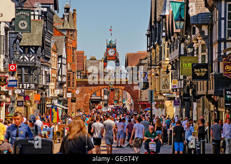 Eastgate and the Chester clock on the Roman wall in the city centre of Chester, the county town of Cheshire. - Stock Photo