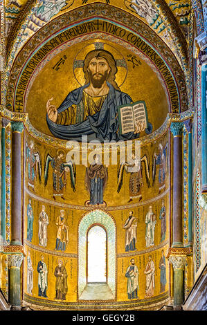 Italy Sicily Ceaflù cathedral interior Mosaic - Stock Photo