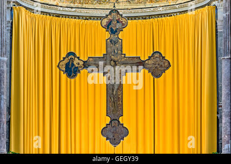 Italy Sicily Ceaflù cathedral interior  - cross - Stock Photo