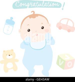congratulation new little baby boy vector illustration - Stock Photo