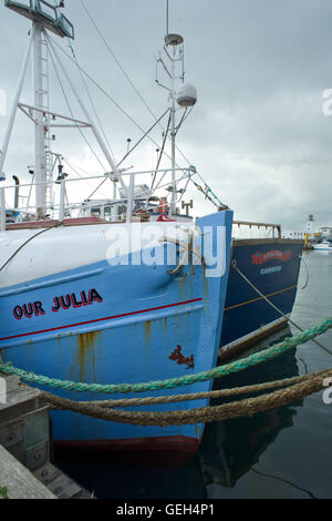 Fishing boats tied up in Harbour, Scarborough North Yorkshire UK. - Stock Photo