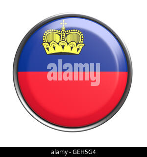 3d rendering of Liechtenstein button on white background. - Stock Photo