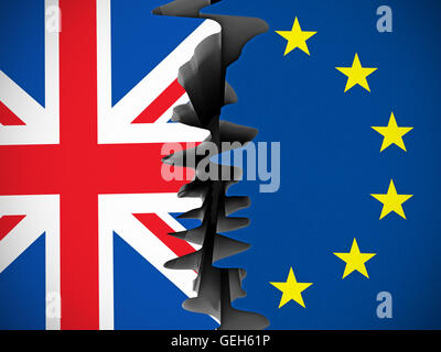 British and European Union flags separated by crack. - Stock Photo