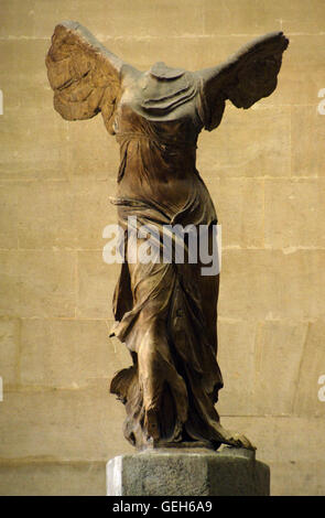Greek art. Winged Victory of Samothrace or Nike of Samothrace. 2nd century BC. Marble. Sculpture of the greek goodess - Stock Photo