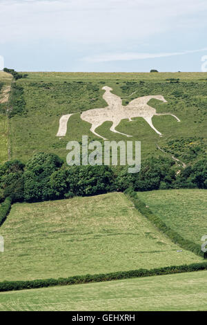 white chalk man on horseback carved from chalk hills - Stock Photo
