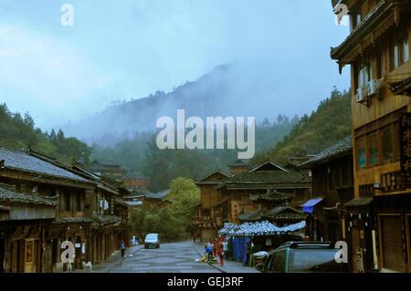 Zhaoxing, Guizhou, China in Early Mornning - Stock Photo