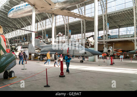 McDonnell Douglas RF-4C Phantom II No 68-0590 jet fighter and other aircraft in the Brussels Air Museum. - Stock Photo