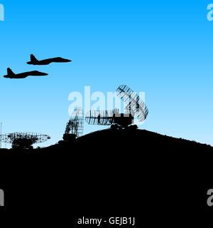 Silhouette  military radar dish. illustration.