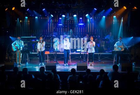 Baek Ja, Park Il-Gyu, Lee Hye-Jin, Han Seon-hee and Lee Gwang-Seok (The Group Woorinara), Jul 23, 2016 : (L-R, front) - Stock Photo
