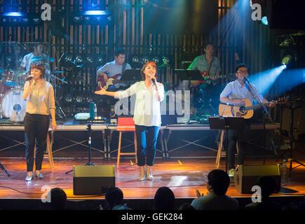 Lee Hye-Jin, Han Seon-hee and Lee Gwang-Seok (The Group Woorinara), Jul 23, 2016 : (L-R, front) Lee Hye-Jin, Han - Stock Photo