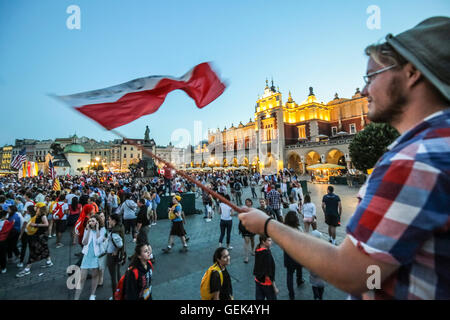 Krakow, Poland. 25th Jul. 2016. Pilgrims from all over the world arrived to Krakow to celebrate World Youth Day - Stock Photo