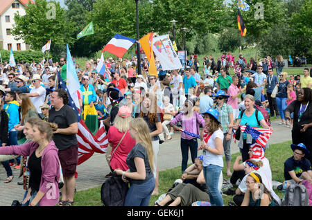 Trzebnica, Poland. 25th July, 2016. World Youth Day, pilgrims from different countries visit St. Jadwiga Sanctuary - Stock Photo