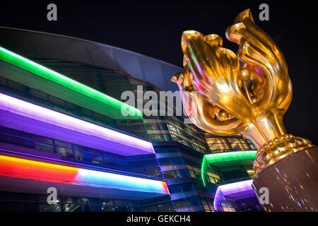 January 30, 2015 - Hong Kong, Hong Kong S.A.R, China - The Forever Blooming Bauhinia Sculpture on Expo Promenade - Stock Photo