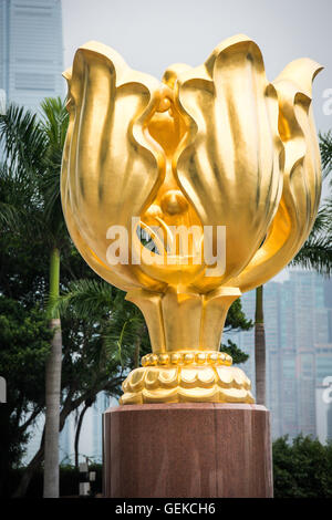 December 15, 2015 - Hong Kong, Hong Kong S.A.R, China - The Forever Blooming Bauhinia Sculpture on Expo Promenade - Stock Photo