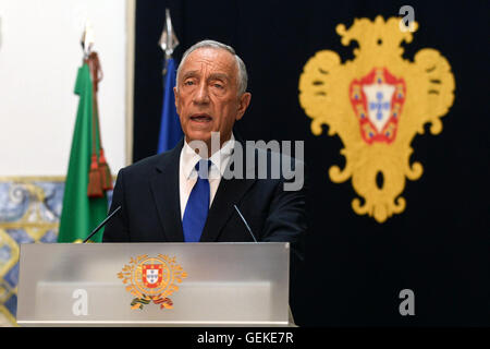 Lisbon, Portugal. 27th July, 2016. Portuguese President Marcelo Rebelo de Sousa delivers a speech at the Palace - Stock Photo