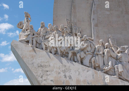Monuments. The Monument to the Discoveries in Belém celebrates the great heroes of the Portuguese age of exploration - Stock Photo