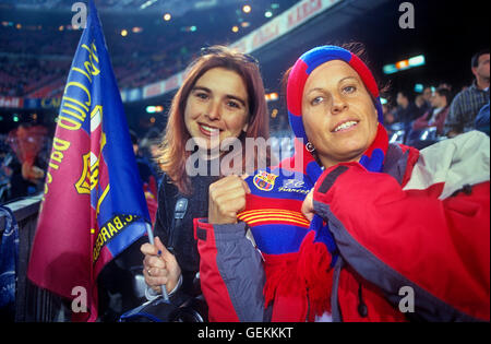 Fans of FC Barcelona. In Camp Nou stadium. Barcelona,spain - Stock Photo