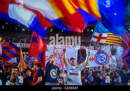 Fans of FC Barcelona (Boixos nois), ultras. In Camp Nou stadium. Barcelona,spain - Stock Photo