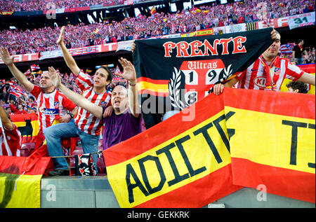 Atlético de Madrid football fans. in Atlético de Madrid stadium, Vicente Calderon, Madrid - Stock Photo