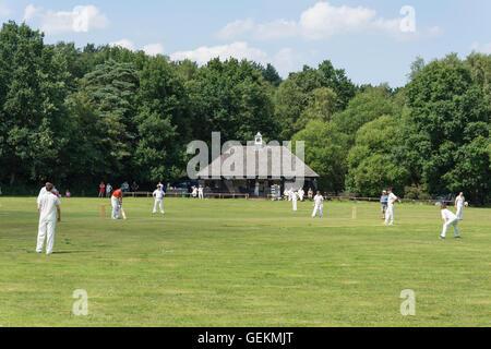 Cricket match on The Green, Pirbright, Surrey, England, United Kingdom - Stock Photo