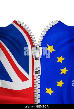 Zippered Brexit flags / 3D illustration of zipper splitting UK and EU flags - Stock Photo