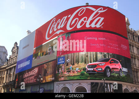 Electronic billboard at Piccadilly Circus London summer 2016 - Stock Photo