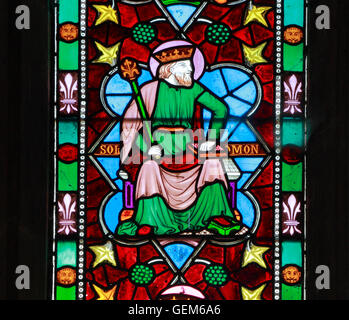King Solomon, stained glass window, Old Hunstanton, detail of stained glass window by Frederick Preedy 1862 Tree - Stock Photo