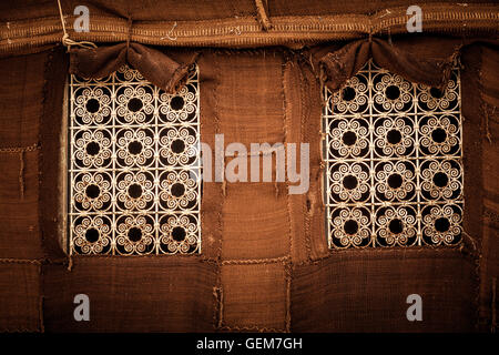Desert Berber tent with metal crafted windows - Stock Photo