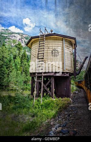 Water Station along the Durango-Silverton Narrow Gauge Railroad in Colorado. - Stock Photo