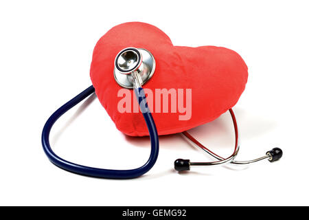 Heart with a Stethoscope isolated on white - Stock Photo