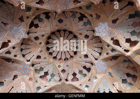 Music Room ceiling in the Ali Qapu Palace, Isfahan, Iran - Stock Photo
