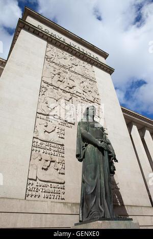 Statue of Lady Justice (Justica) in front of the Law Courts (Palacio da Justica) in Porto, Portugal, created in - Stock Photo