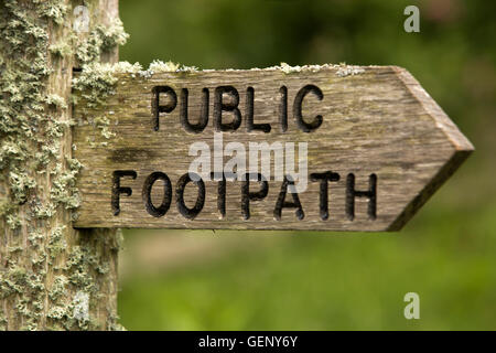 UK, England, Devon, Sidmouth, Salcombe Hill, lichen covered public footpath sign - Stock Photo