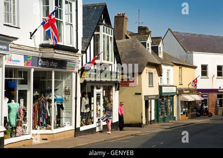 UK, England, Devon, Sidmouth, High Street, small independent shops and Harpers Barbers in thatched building - Stock Photo