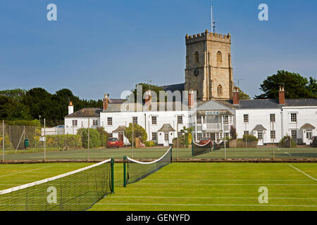 UK, England, Devon, Sidmouth, Coburg Pleasure Grounds, St Giles and St Nicholas Parish Church tower and Amyatt's - Stock Photo