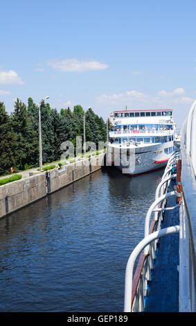 Volgograd, Russia - June 27, 2016. River cruise ship Aleksandr Suvorov ready to leave the navigation Lock  on The - Stock Photo