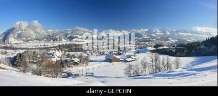 geography / travel, Germany, Bavaria, Allgaeu, Upper Allgaeu, Sonthofen, Iller Valley, Gruenten, church of Bihlerdorf - Stock Photo