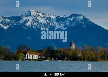 Fraueninsel with mount Hochgern, Chiemsee, Bavaria - Stock Photo