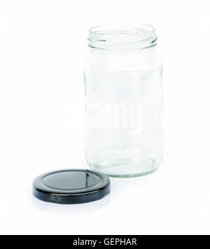 Empty colorless glass container isolated on white background. - Stock Photo