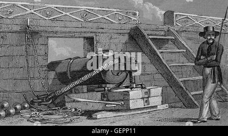 War Ship. Carromade with its carriage. Engraving. 19th century. Iconographic Enclyclopaedia of Science, Literature - Stock Photo