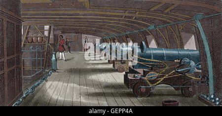 Starboard battery in daytime. Engraving. 19th century. Iconographic Enclyclopaedia of Science, Literature and Art. - Stock Photo