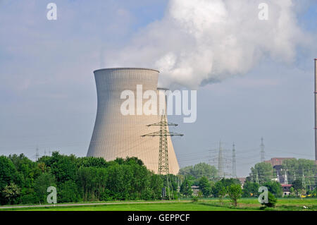 geography / travel, energy, nuclear power, power plant, Gundremmingen, most powerful nuclear plant of Germany, Bavaria, - Stock Photo