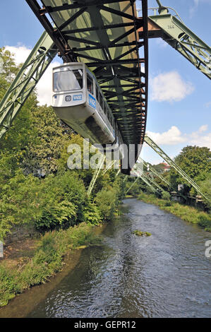 geography / travel, Germany, North Rhine-Westphalia, Wuppertal, suspension railway above the Wupper, - Stock Photo